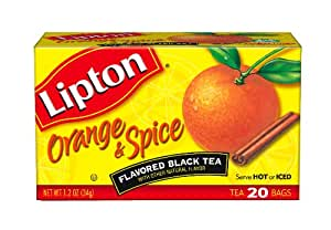 Lipton Flavored Black Tea, Orange & Spice, Tea Bags, 20-Count Boxes (Pack of 6)