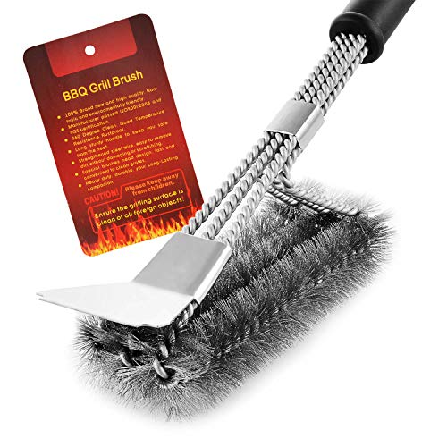 """MEMX Grill Brush and Scraper,Strong BBQ Cleaner Accessories,Safe Wire Bristles 18"""" Stainless Steel Barbecue Triple Scrubber Cleaning Brush,Perfect Tools for Weber Gas/Charcoal Grill."""
