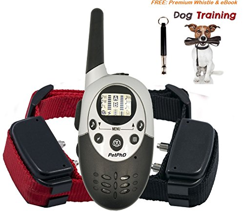 [PetPhD Elite 1100D Dual Electronic Dog Training Shock Collars 1100 Yard Rechargeable Waterproof e-Collars with Tone | Shock | Vibration NEW 3.0 Version for 2017 BONUS Training eBook + Dog] (Video Of Dog In Costume)