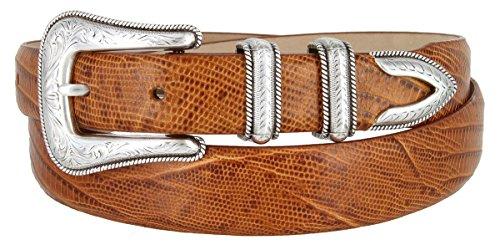 Brenton - Men's Italian Calfskin Designer Dress Golf Belt with Western Silver Plated Buckle Set (42 Lizard Tan) - Lizard Belt Straps