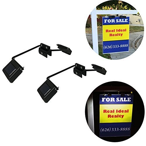 Homebrite Solar Powered Dual Sided LED Lights for Real Estate Signs Mounting Bracket Yard Sign Lighting (Clip Lights On Powered Solar)