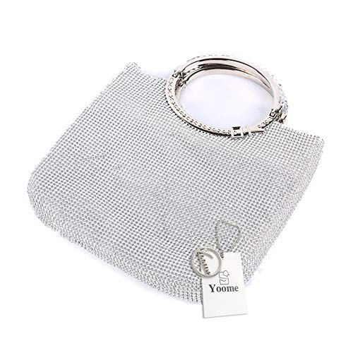 Evening with Purse Clutch Bags Rhinestone Frame Bow Wedding Yoome Silver Crystal Womens St8x7Waw