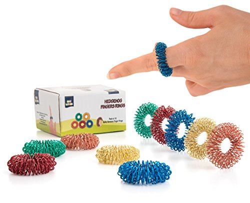 Stress Relief Fidget Sensory Toys Set 10 Small Quiet Metal Antistress Fingers Rings For Men, Women, Adults, Teens & 5+ Children  Ideal For People With OCD, ADHD, ADD & Autism Sensory Desk Games