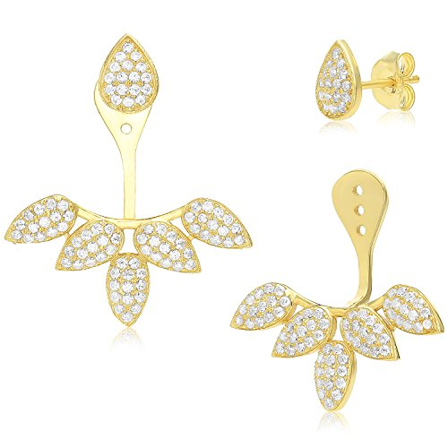 Gold Stud Earring Yellow Jacket (Sterling Silver Front Back 2 in 1 Cubic Zirconia Stud and Ear Jacket Earrings Set - Yellow Gold Finish)