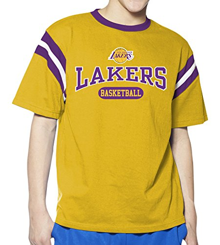 (NBA Los Angeles Lakers Children Unisex NBA Youth Short Sleeve Ringer Tee,XL,Gold/Purple)