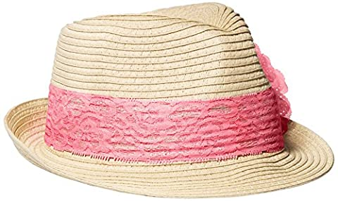 Toby & Company Big Girls' Lace and Flower Fedora, Navy Pink, 7-14
