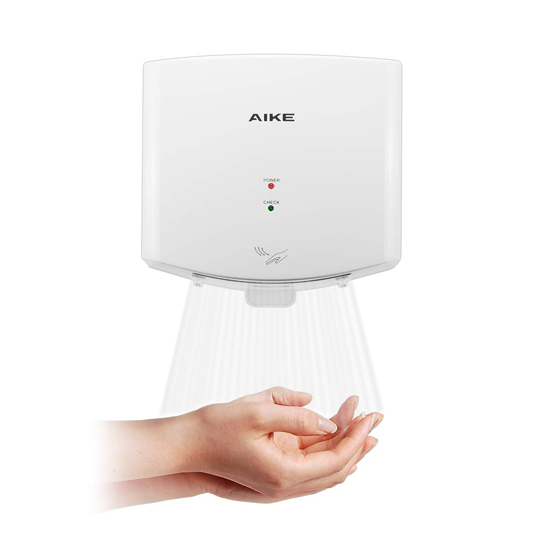 AIKE AK2630-K Compact Automatic High Speed Hand Dryer Commercial and Household,ABS Cover 1400W(White)