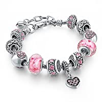 """Long Way Silver Tone Chain Pink Crystal Love Heart Bead Glass Charm Bracelet With Extender 7.5""""+1.5"""""""