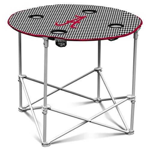 Logo Brands NCAA Alabama Crimson Tide Houndstooth Round Table by Logo Brands
