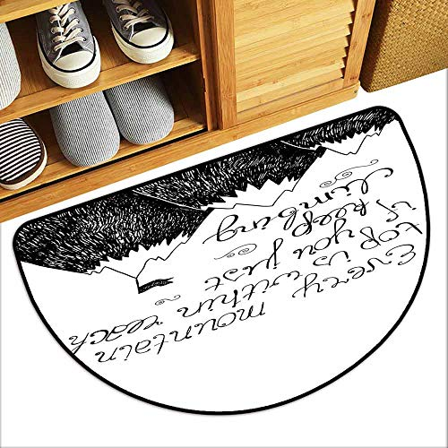 G Idle Sky Motivational Thin Door mat Sketchy Mountains Hand Writing Style Letters Purpose Determination Success Hard and wear Resistant W29 x L17 Black White