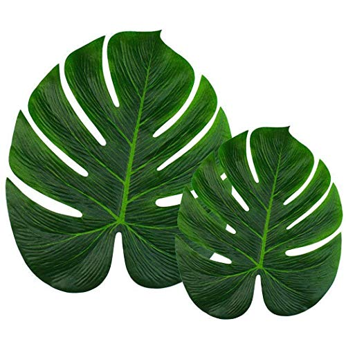 Wolfride 24 Pieces (13.8inch and 8inch)Tropical Imitation Plant Leaves Artificial Palm Fronds Leaf for Birthdays/ Prom/ Events/ Weddings Decorations