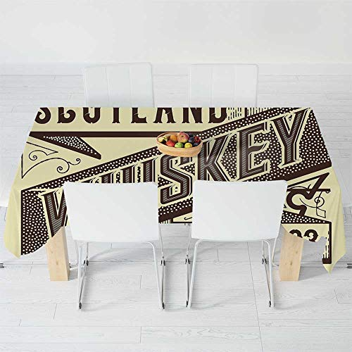 Fashionable Tablecloth,Man Cave Decor,for Secretaire Square Table Office Table,104.3 X 52 Inch,Whiskey Label Design Old Fashion Scotland Alcohol ()