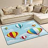 LORVIES Hot Air Balloons Area Rug Carpet Non-Slip Floor Mat Doormats for Living Room Bedroom 60 x 39 inches