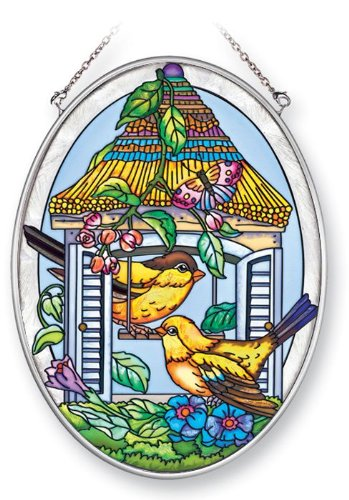 Amia 41365 Goldfinch Birdhouse 5-1/2 by 7-Inch Oval Sun Catcher, Medium