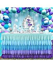 مفرش طاولة ميرميد للحفلات بتصميم تنورة مكشكشة للطاولات المستطيلة مقاس 6 اقدام لزينة حفلة استقبال الطفل وعيد الميلاد