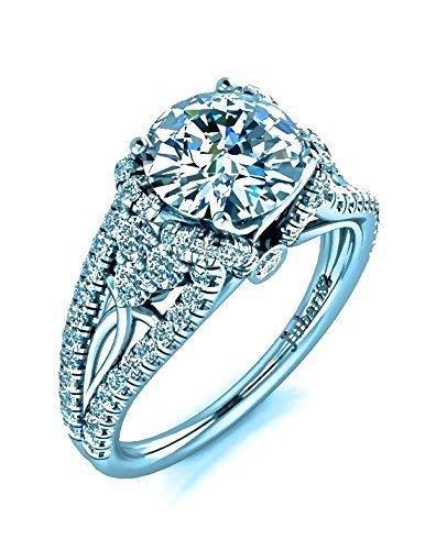 6186e630b57 Amazon.com: 2.10Ctw Round Heirloom Diamond Engagement Ring Custom ...