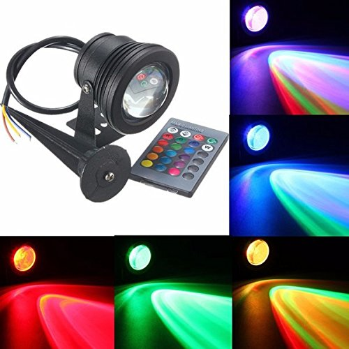 Color Changing Flood Lights - Remote Controlled Flood Light - Waterproof IP68 10W Flood Fountain Pool Pond Under Water Spot Lightt Remote Controller - AC85-265V (Waterproof Flood Light) by Unknown