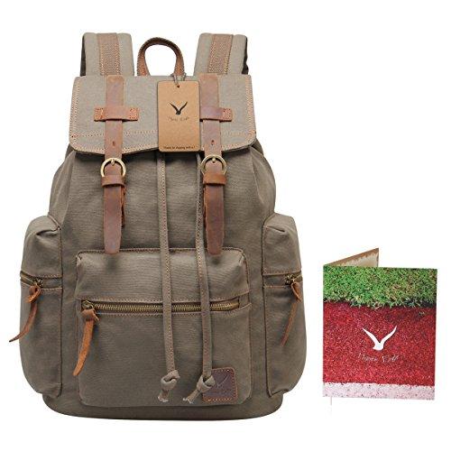 Hynes Eagle Vintage Canvas Leather Backpack Rucksack 19 Liter (Army Green)