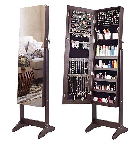 AOOU Jewelry Organizer Jewelry Armoire,Full Length Mirror Lockable Jewelry Cabinet, with Large Storage Capacity, 3 Angles Adjustable, ()