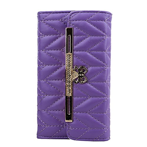 Note 3 Case, Galaxy Note 3 Case - VAMVAZ Fashion Cute Purple Bow Diamond Pattern Design PU Leather Wallet Flip Fold Full Body Protector Case Cover Skin For Samsung Galaxy Note 3 N9000