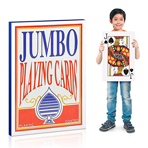 Giant Playing Card Decorations (Gamie Jumbo Giant Poker Playing Cards Deck - 10.5 Inches X 14.5 Inches - Extra Large Card Set with 2 Jokers - Huge Casino Game Cards for Kids and Adults)