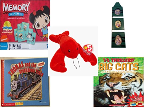 Children's Gift Bundle - Ages 3-5 [5 Piece] - Ni Hao Kai-Lan Edition Memory Game - Crayola Green Crayon 3-Tier Picture Frame - Ty Beanie Baby - Pinchers the Lobster (Thomas The Trai)