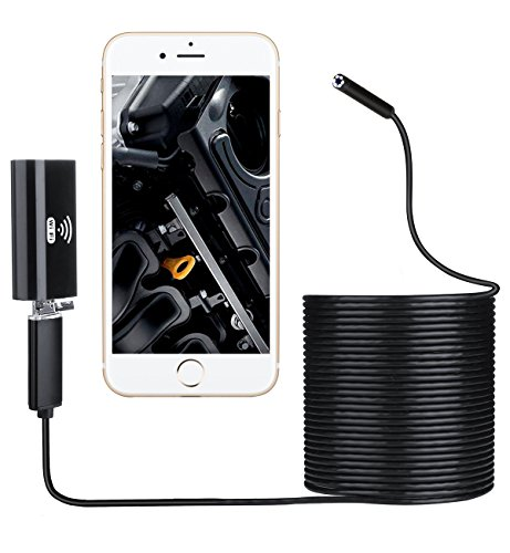 Inspection Camera, RISEPROWaterproof WiFi USB Endoscope Mobile 8mm Wireless Snake Scope 6 LED Borescope with 10m Tube for PC, Iphone, Android Phone, Laptop WF810