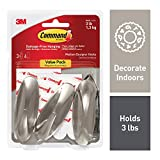 Command 3 lb Capacity Hooks, Indoor Use, 3 hooks, 6 strips (17081BN-3ES)