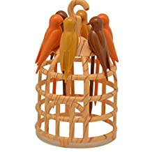 Prettysell Plastic Cage-birds Shaped Fruit Forks Fruit Picks Kitchen Toothpick