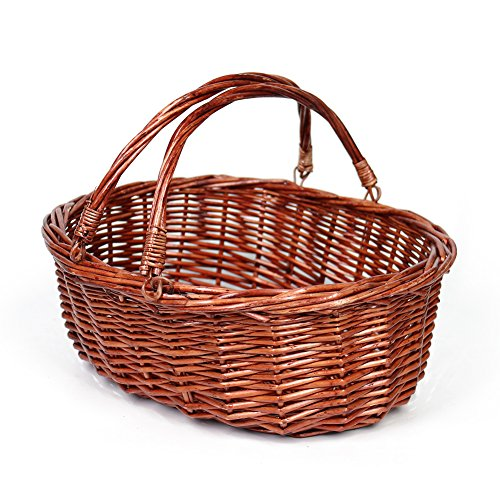 MEIEM Wicker Basket Picnic Basket Gift Baskets Empty Oval Willow Woven Basket Easter Basket Large Storage Basket Wine Basket with Handle Egg Gathering Wedding Basket (Brown)