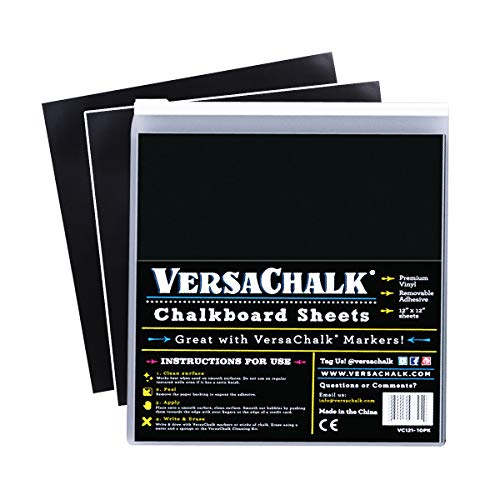 VersaChalk Vinyl Chalkboard Sheets 12 x 12-inch Pack of 20 - Vinyl Chalkboard Sheets for Cricut, Xyron, Pazzles, Silhouette, Robo Craft, Decals, Printers, Stickers, Banners, Signs. -