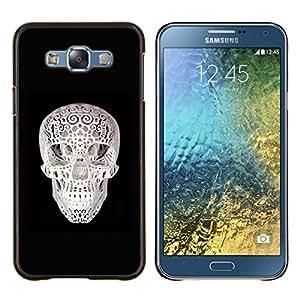 EJOOY---Cubierta de la caja de protección para la piel dura ** Samsung Galaxy E7 E700 ** --Cráneo 3D de impresión Negro Blanco Minimalista