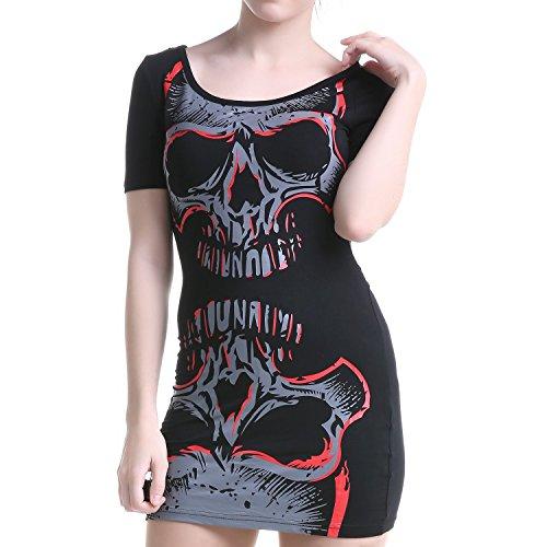 Kurzes Kleid mit Totenköpfen