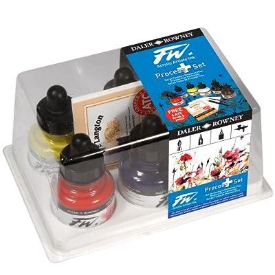 Daler-Rowney F.W. Acrylic Ink Process Plus Set of 6 1 oz Bottles - Process Colors