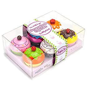 Imagination Generation Wood Eats! Scrumptious Cupcakes Dessert Set – 6 Colorful Cakes, Great for Baking Playsets, Play Kitchens and Play Food Toys