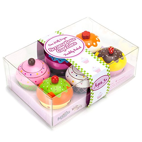 - Imagination Generation Wood Eats! Scrumptious Cupcakes Dessert Set - 6 Colorful Cakes, Great for Baking Playsets, Play Kitchens and Play Food Toys