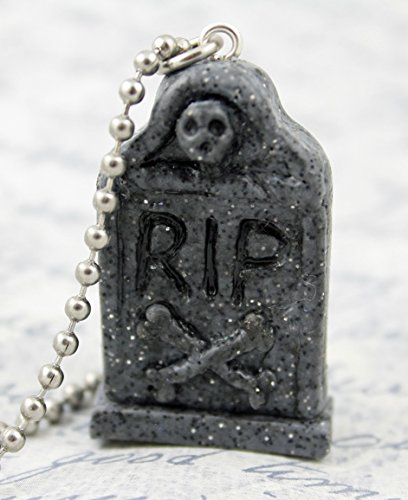 Headstone RIP Necklace - Tombstone - Graveyard - Polymer Clay - Handsculpted - Grey