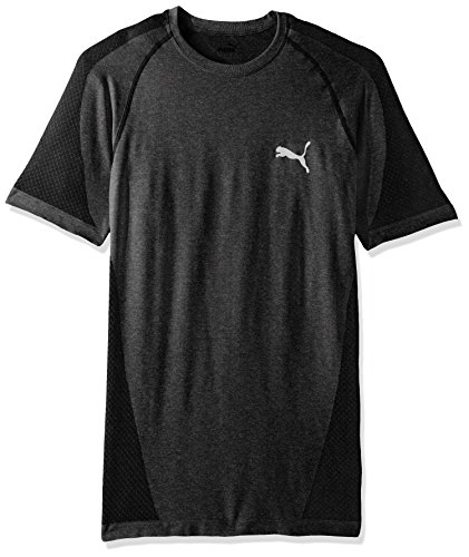 PUMA Men's Evoknit Better T-Shirt, Black Heather, Medium