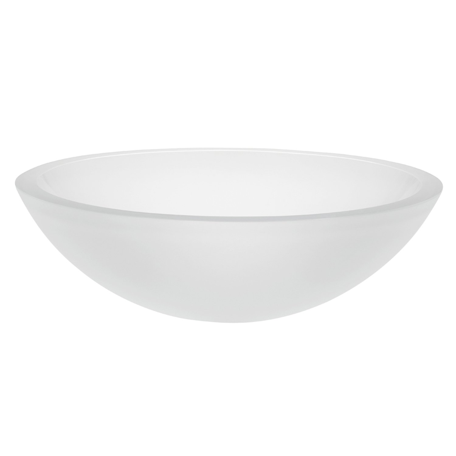 DECOLAV 1019T-FCR Anani Translucence Round 19mm Tempered Glass Vessel Sink, Frosted Crystal