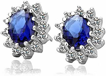 Beautiful Paradise Oval Shape Crystal Stud Earrings for Women Ear Studs in Silver Tone