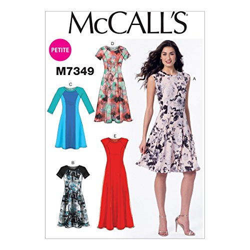 McCall's Patterns M7349 Misses'/Miss Petite Sleeveless or Raglan Sleeve, Fit and Flare Dresses, Size A5 (6-8-10-12-14)