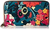 Sakroots Large Zip Around Wallet, Teal Flower Power, One Size