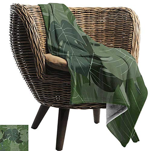 AndyTours Summer Blanket,Forest Green,Camouflage Pattern of Palm Leaves Tropical Nature Themed Foliage,Sage Green Pale Green,300GSM, Super Soft and Warm, Durable 30