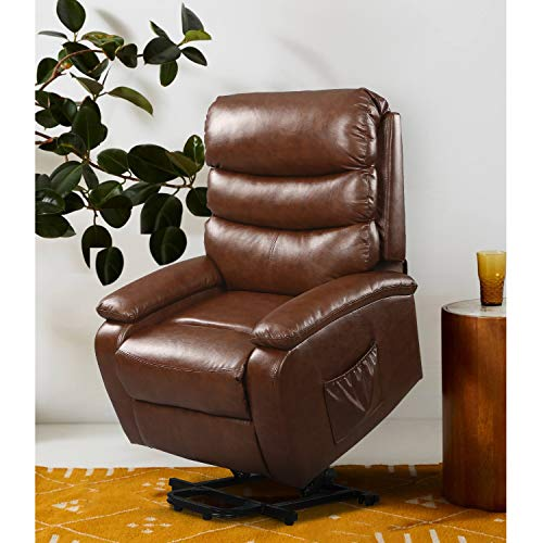 DEVAISE Power Lift Massage Recliner Chair with Heat and Vibration for Elderly, Living Room Sofa Chair with Remote Control, Faux Leather Upholetery, Brown