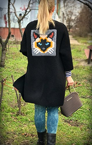 Hand knitted Cardigan. Stylish Siamese cat clothing