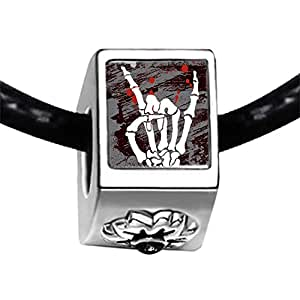 Chicforest Silver Plated Music Theme Horror Skull Sign Photo Black Crystal Flower Charm Beads Bracelets Fits Pandora Charm