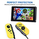 Joy-Con Gel Guards Silicone Skin Cover Case with Thumb Grips Caps for Nintendo Switch By Mibote (Yellow)