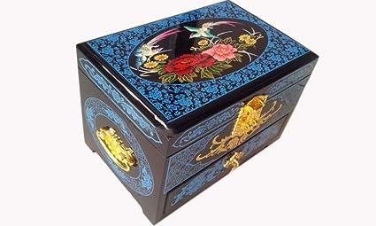 irugh Empuje la Laca luz joyería Caja cajón Joyas de Boda de Madera Pintados a Mano