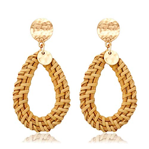 Mooinn Woven Rattan Earrings Natural Straw Braid Hollow Teardrop Circle Drop Earrings Hammered Disc Stud Boho Wicker Big Hoop Earrings for ()