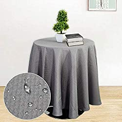 Haperlare Tablecloth, 70 Inch Round Waffle Woven Fabric Table Cloth, Water-Repellent and Stain Resistant Table Cover for Buffet Table, Parties, Gray